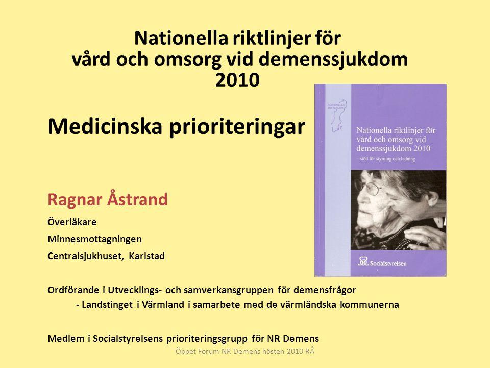 Nationella riktlinjer för vård och omsorg vid demenssjukdom 2010