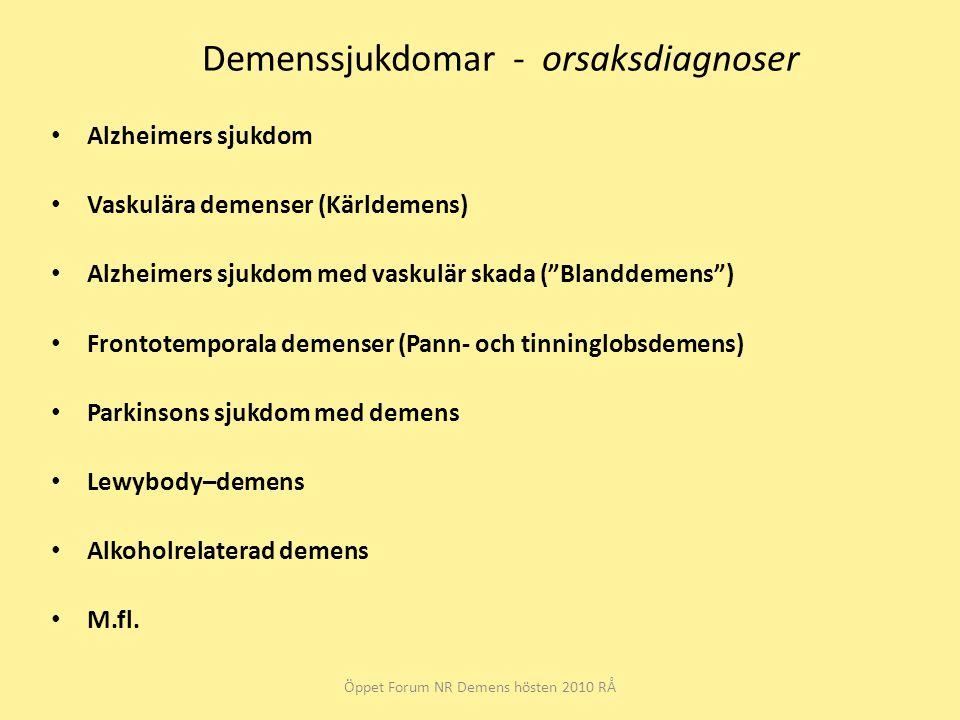 Demenssjukdomar - orsaksdiagnoser