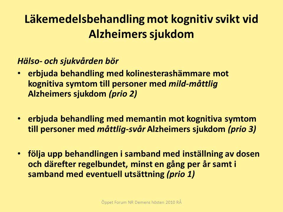 Läkemedelsbehandling mot kognitiv svikt vid Alzheimers sjukdom