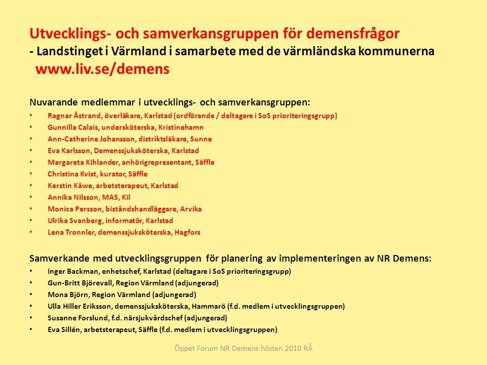Öppet Forum NR Demens hösten 2010 RÅ