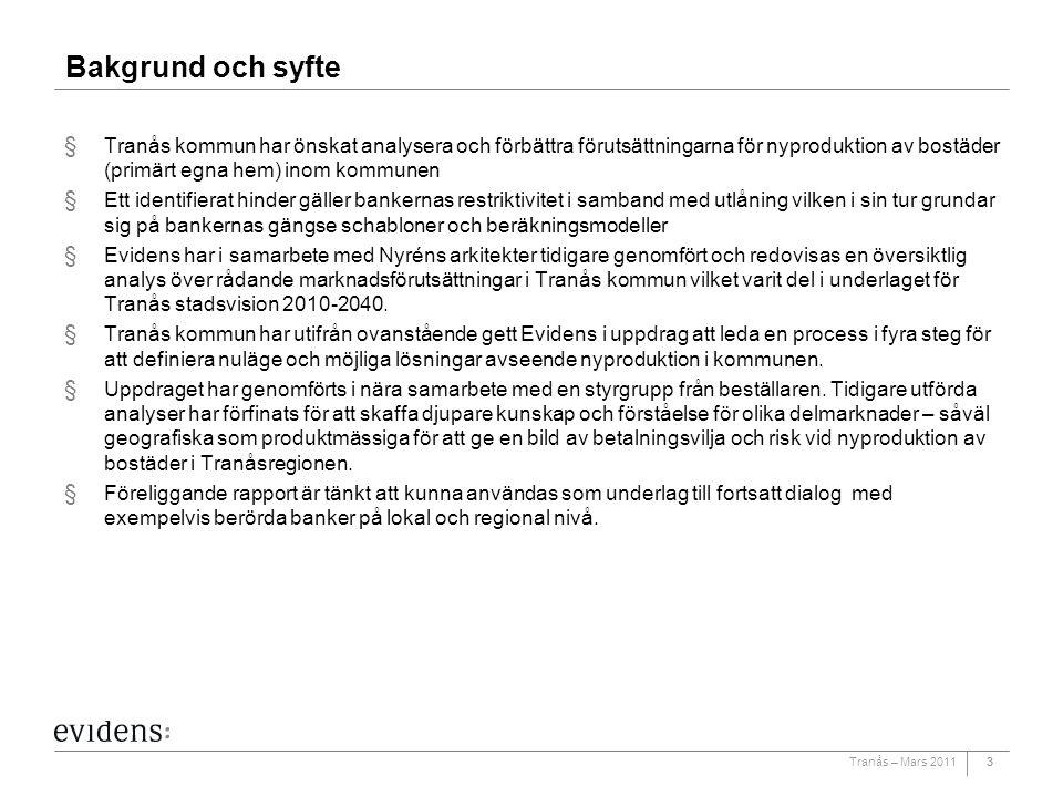 Bakgrund och syfte Tranås kommun har önskat analysera och förbättra förutsättningarna för nyproduktion av bostäder (primärt egna hem) inom kommunen.
