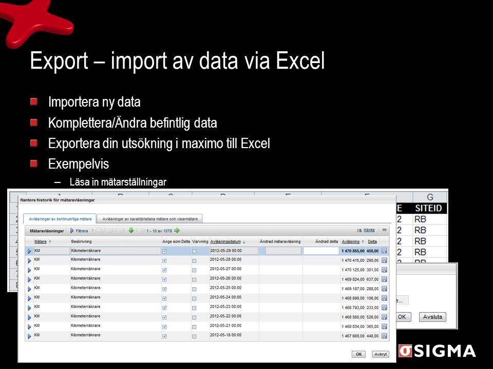 Export – import av data via Excel