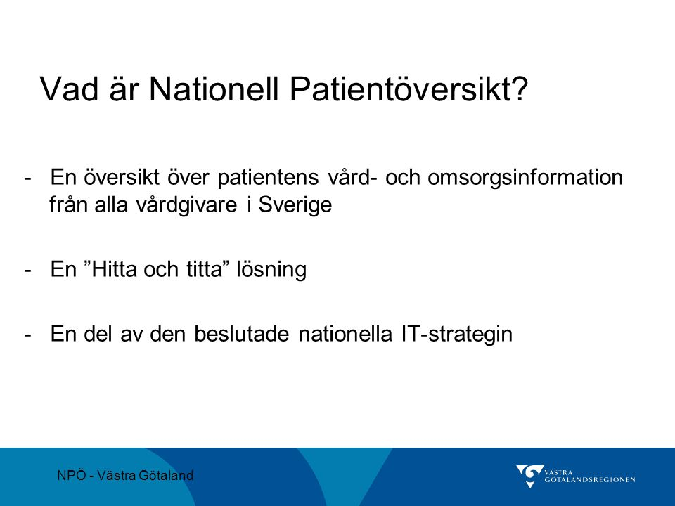 Vad är Nationell Patientöversikt