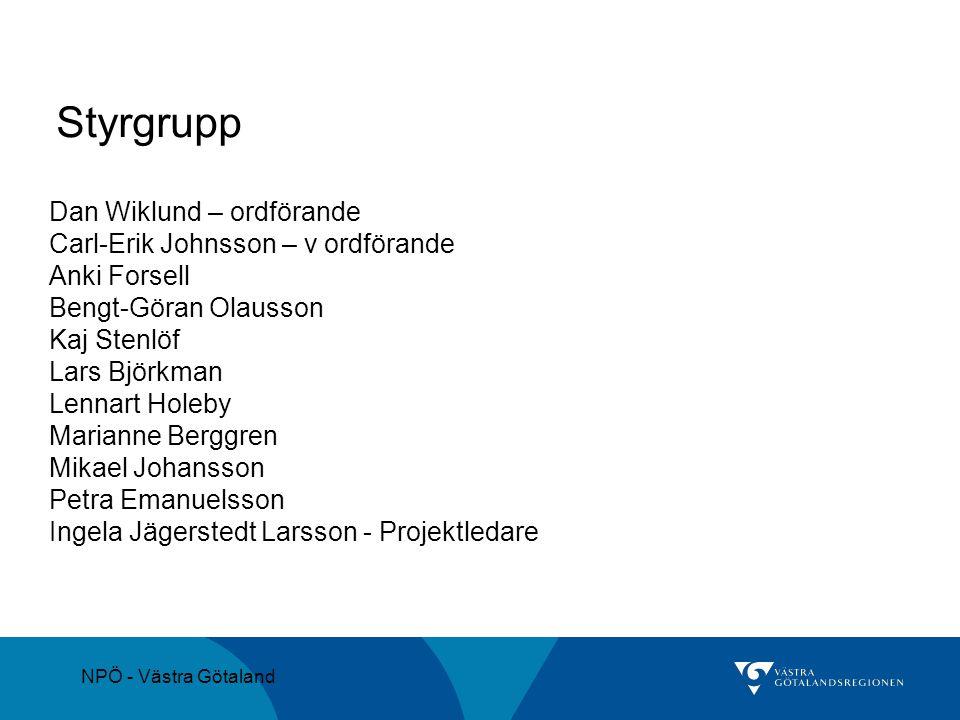 Styrgrupp Dan Wiklund – ordförande Carl-Erik Johnsson – v ordförande