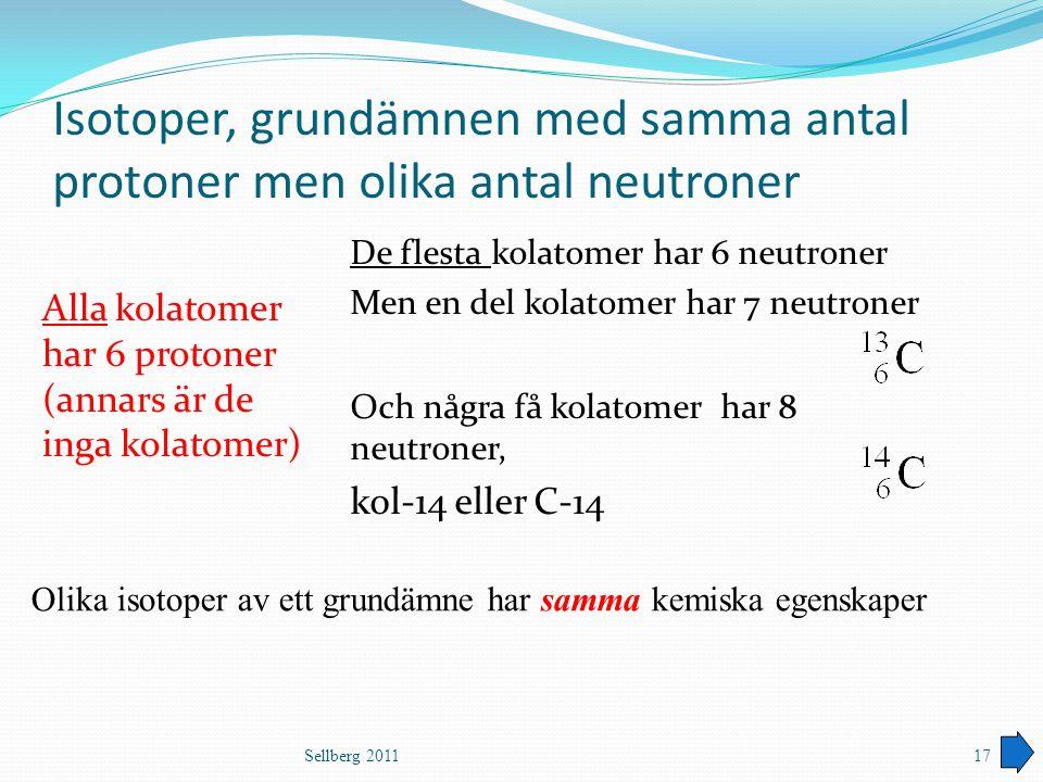 Isotoper, grundämnen med samma antal protoner men olika antal neutroner