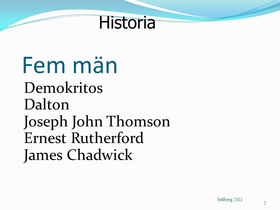 Fem män Historia Demokritos Dalton Joseph John Thomson