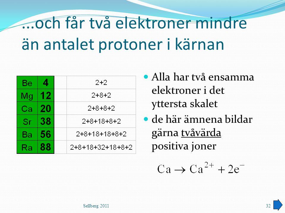 ...och får två elektroner mindre än antalet protoner i kärnan