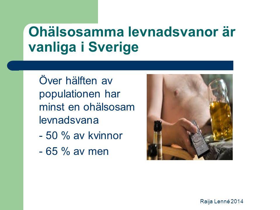 Ohälsosamma levnadsvanor är vanliga i Sverige