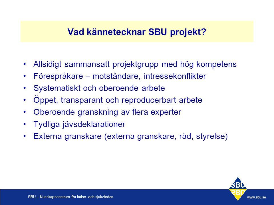 Vad kännetecknar SBU projekt