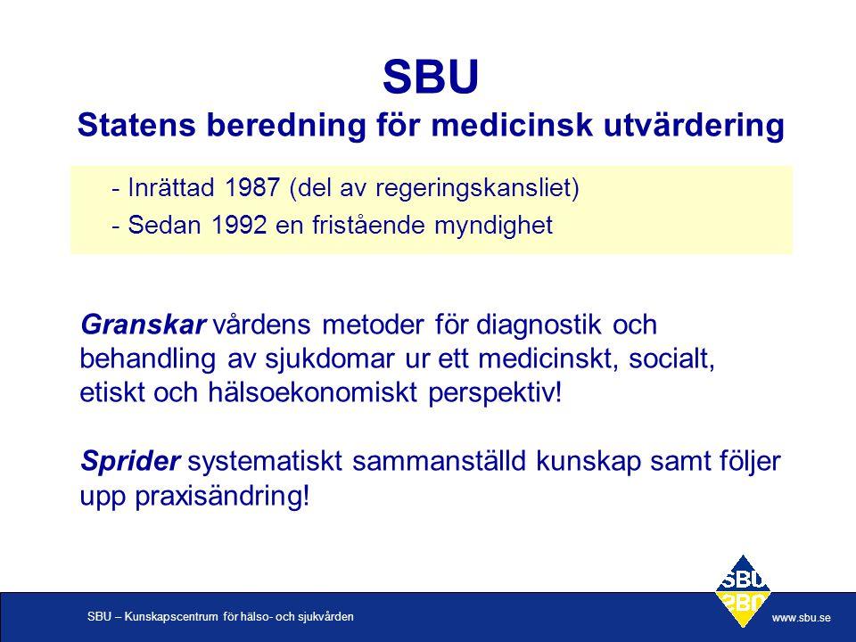 SBU Statens beredning för medicinsk utvärdering