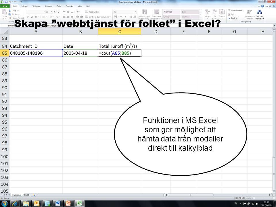 Skapa webbtjänst för folket i Excel