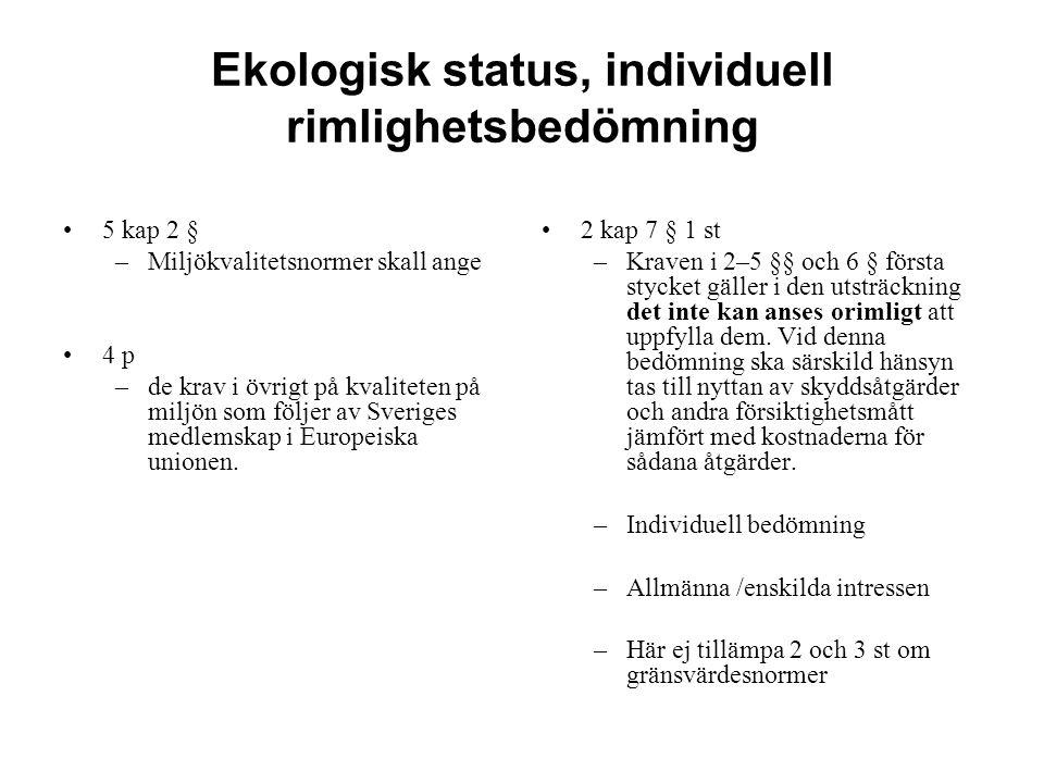 Ekologisk status, individuell rimlighetsbedömning