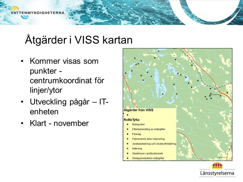Åtgärder i VISS kartan Kommer visas som punkter - centrumkoordinat för linjer/ytor. Utveckling pågår – IT-enheten.