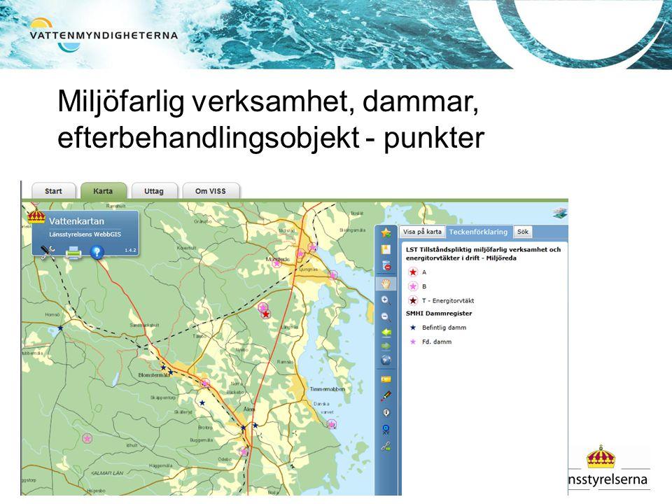 Miljöfarlig verksamhet, dammar, efterbehandlingsobjekt - punkter