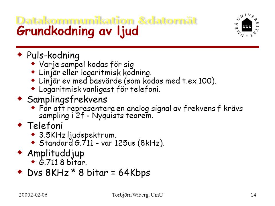 Grundkodning av ljud Puls-kodning Samplingsfrekvens Telefoni