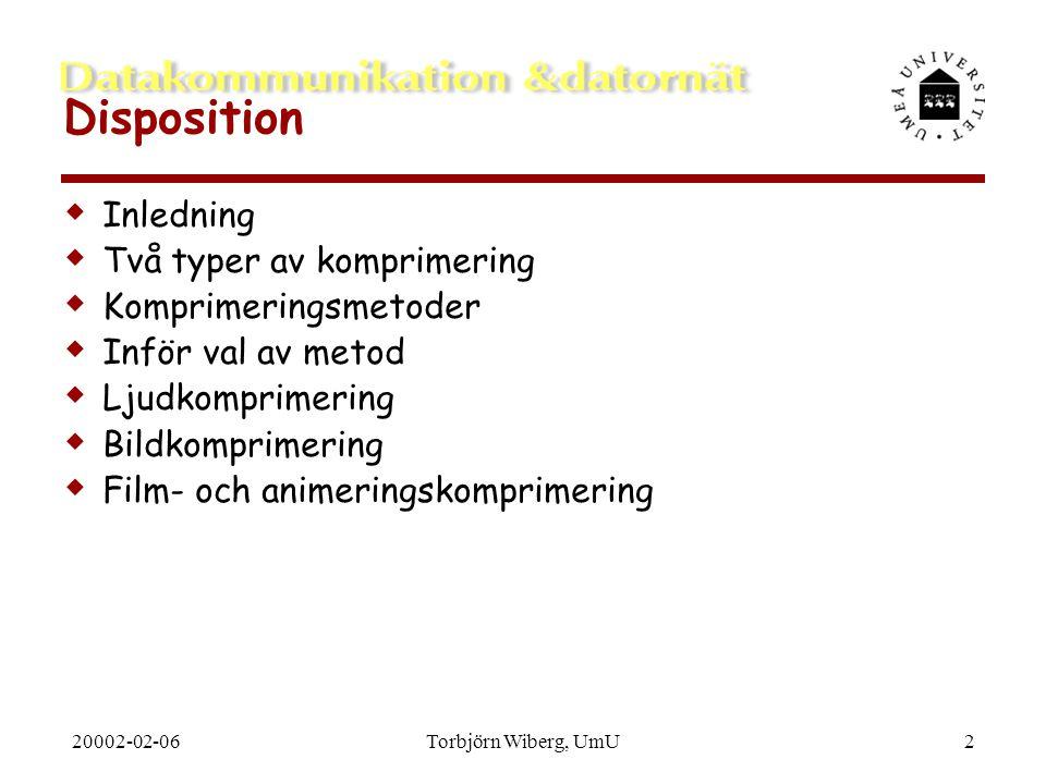 Disposition Inledning Två typer av komprimering Komprimeringsmetoder