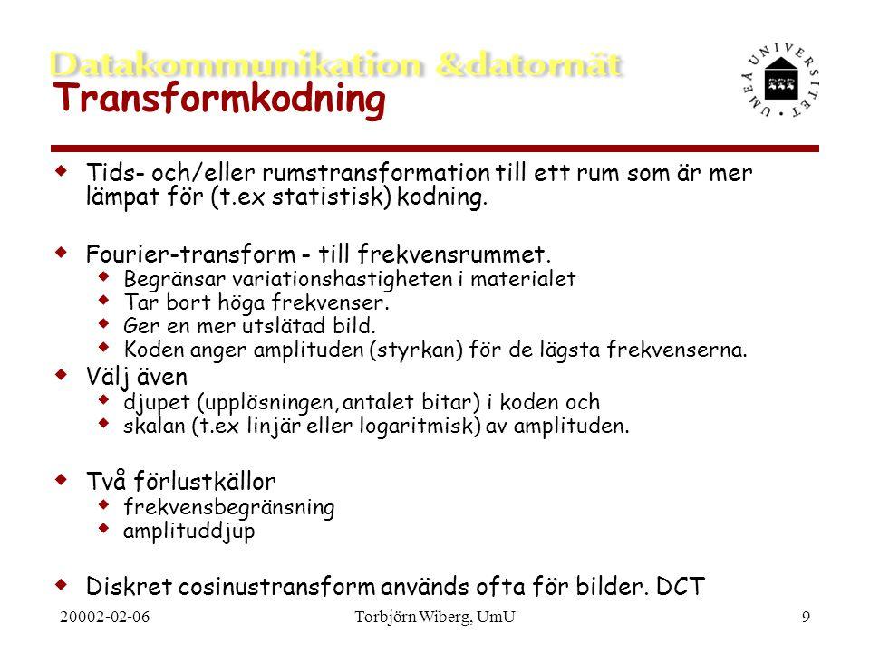 Transformkodning Tids- och/eller rumstransformation till ett rum som är mer lämpat för (t.ex statistisk) kodning.