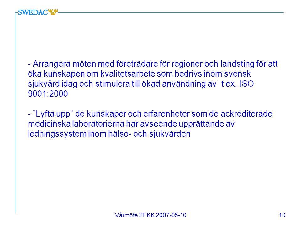 - Arrangera möten med företrädare för regioner och landsting för att öka kunskapen om kvalitetsarbete som bedrivs inom svensk sjukvård idag och stimulera till ökad användning av t ex. ISO 9001:2000 - Lyfta upp de kunskaper och erfarenheter som de ackrediterade medicinska laboratorierna har avseende upprättande av ledningssystem inom hälso- och sjukvården