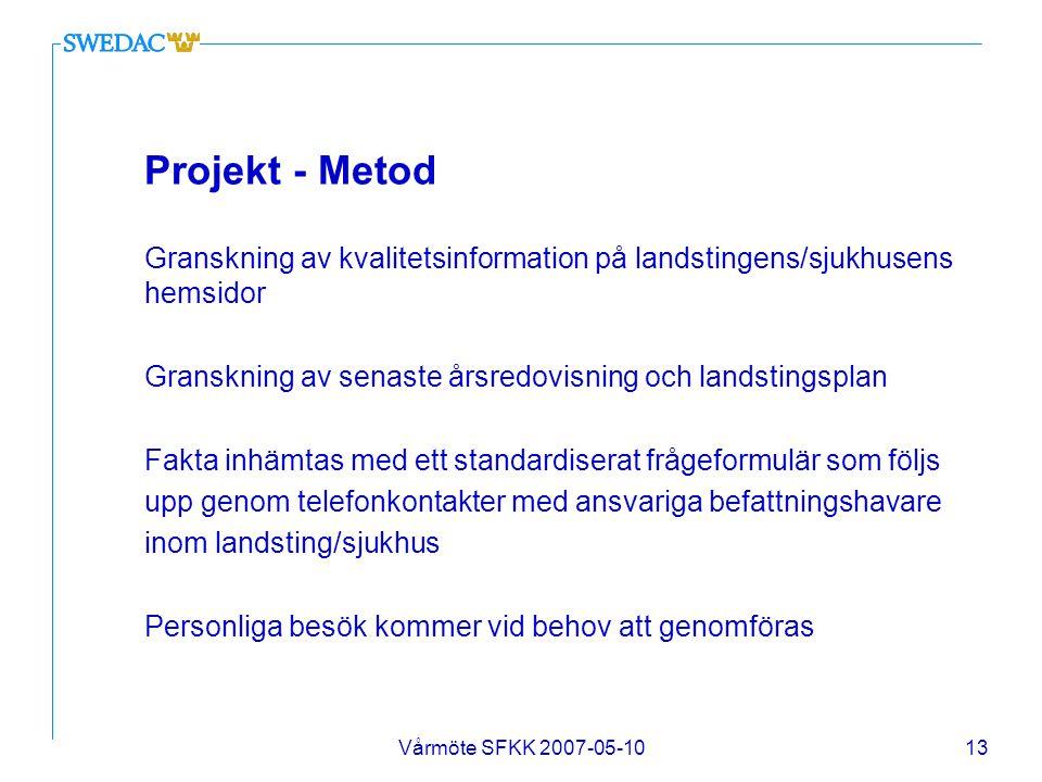 Projekt - Metod Granskning av kvalitetsinformation på landstingens/sjukhusens hemsidor. Granskning av senaste årsredovisning och landstingsplan.