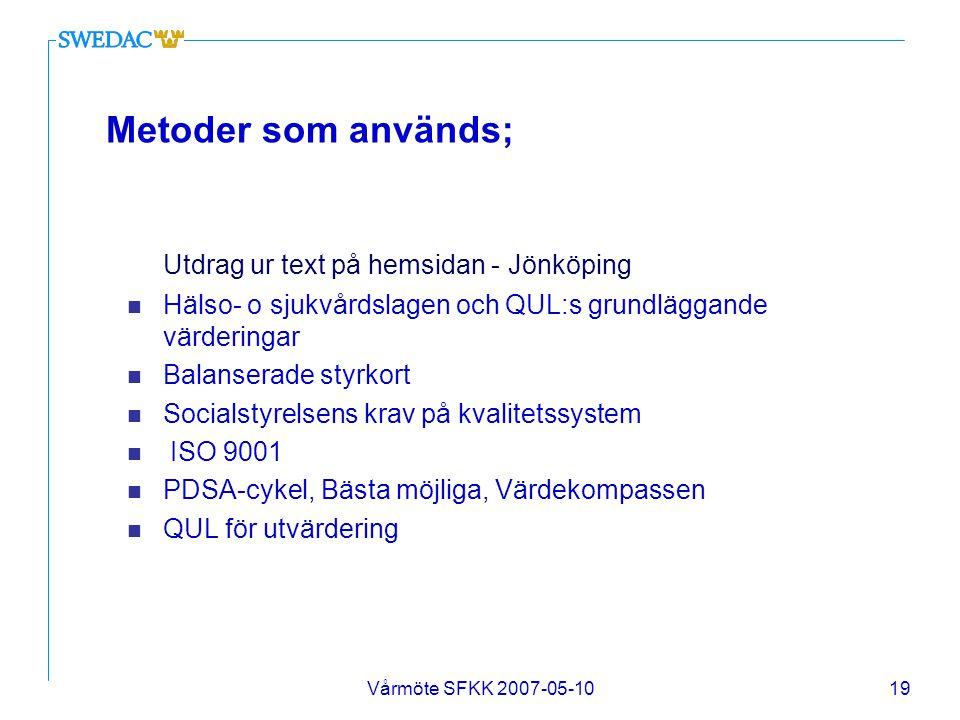 Metoder som används; Utdrag ur text på hemsidan - Jönköping