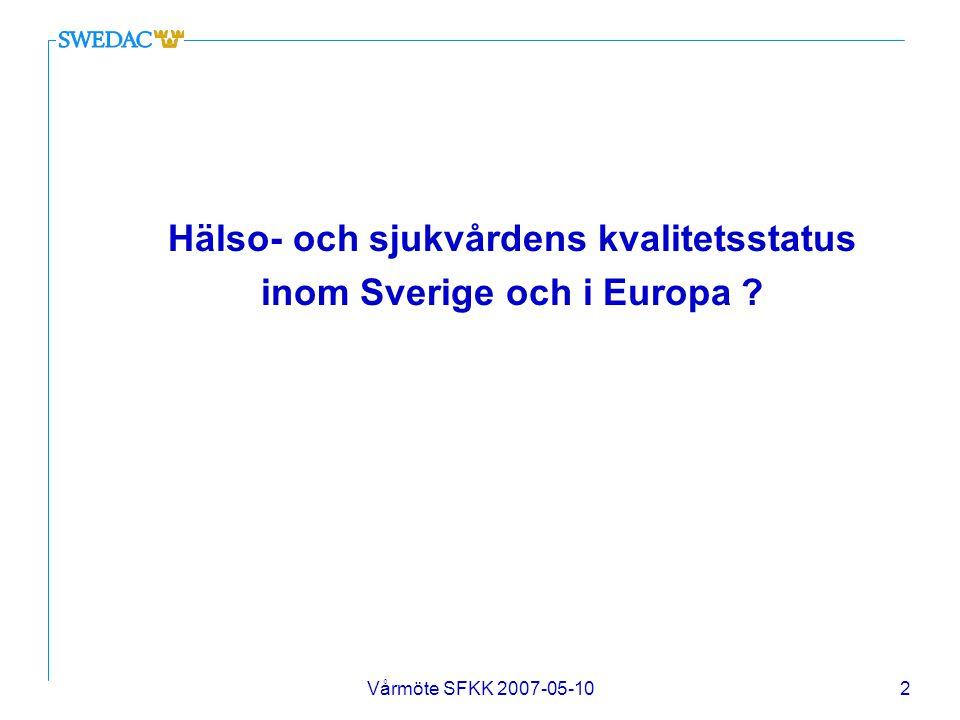 Hälso- och sjukvårdens kvalitetsstatus inom Sverige och i Europa