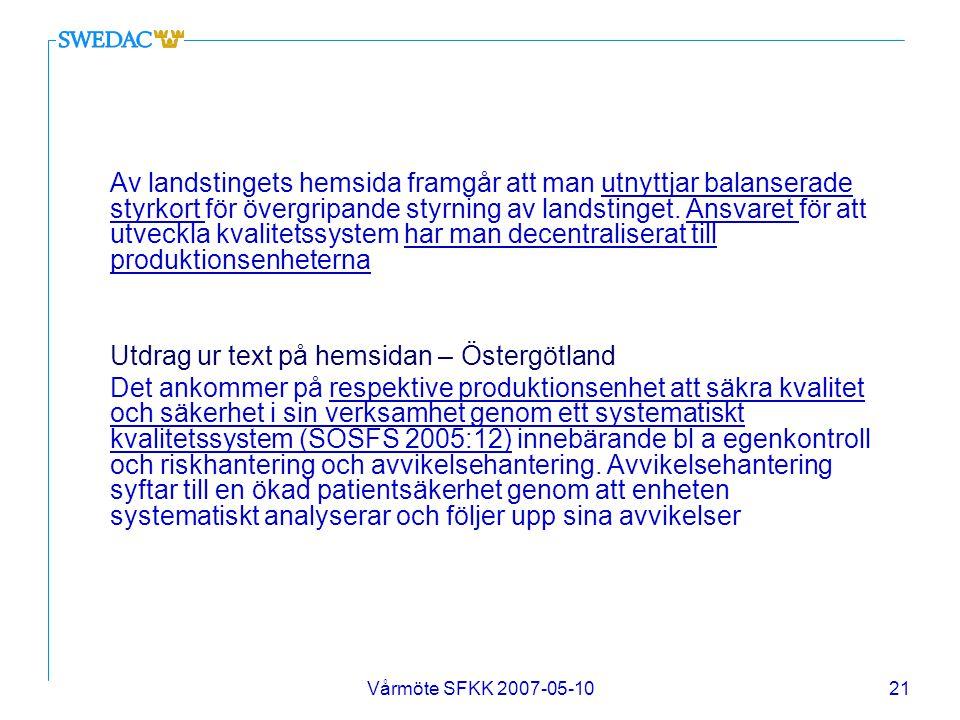 Utdrag ur text på hemsidan – Östergötland
