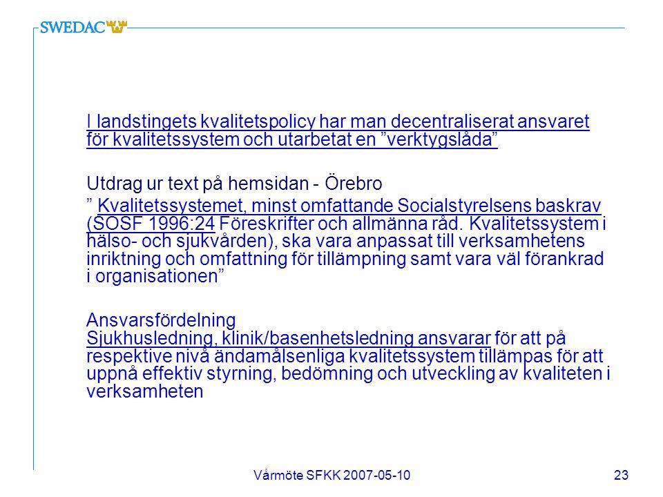 Utdrag ur text på hemsidan - Örebro
