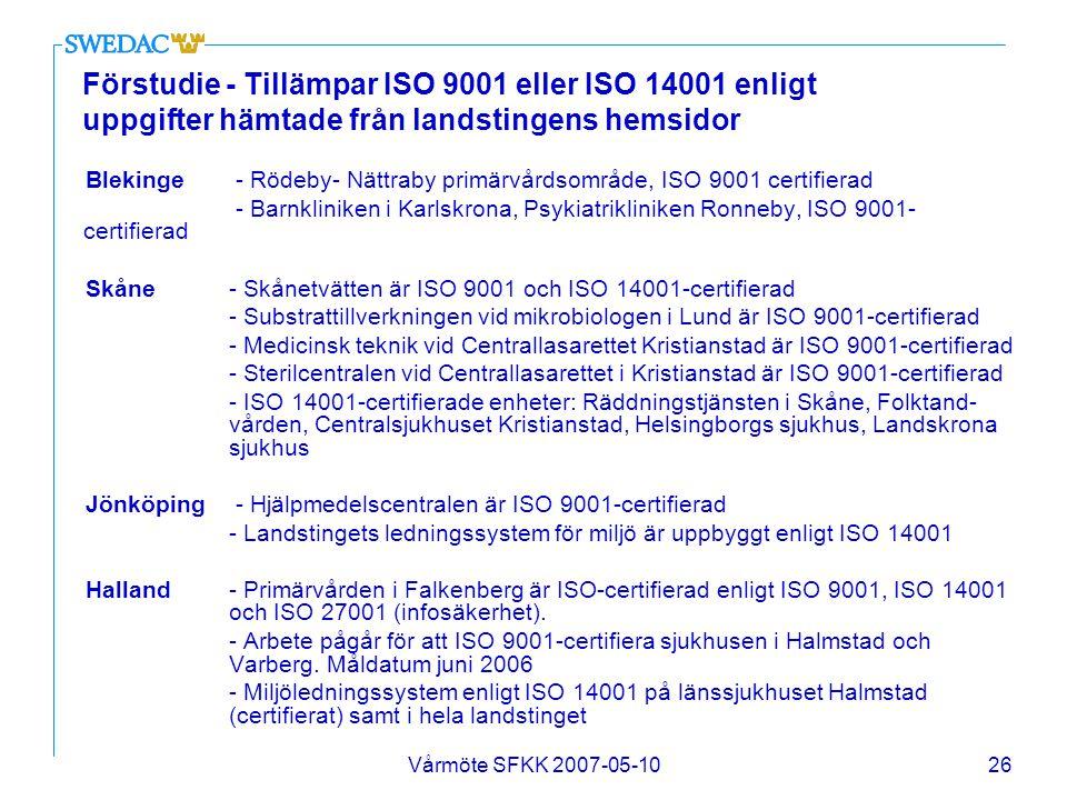 Förstudie - Tillämpar ISO 9001 eller ISO 14001 enligt uppgifter hämtade från landstingens hemsidor