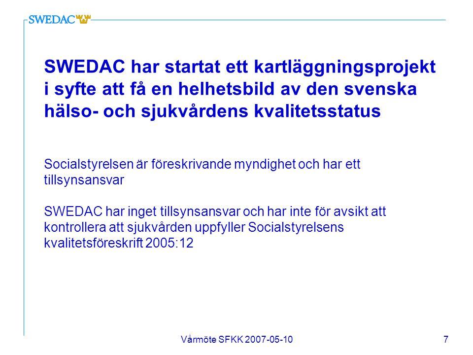 SWEDAC har startat ett kartläggningsprojekt i syfte att få en helhetsbild av den svenska hälso- och sjukvårdens kvalitetsstatus Socialstyrelsen är föreskrivande myndighet och har ett tillsynsansvar SWEDAC har inget tillsynsansvar och har inte för avsikt att kontrollera att sjukvården uppfyller Socialstyrelsens kvalitetsföreskrift 2005:12