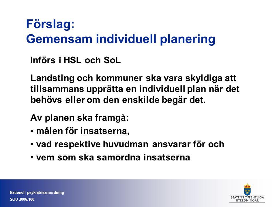Förslag: Gemensam individuell planering