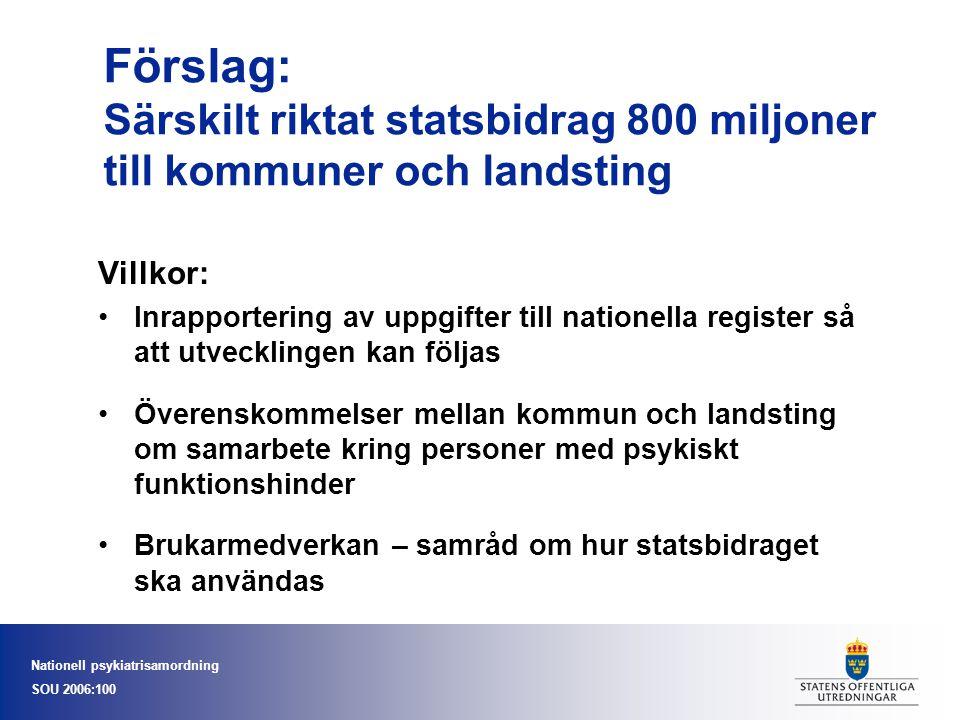 Förslag: Särskilt riktat statsbidrag 800 miljoner till kommuner och landsting