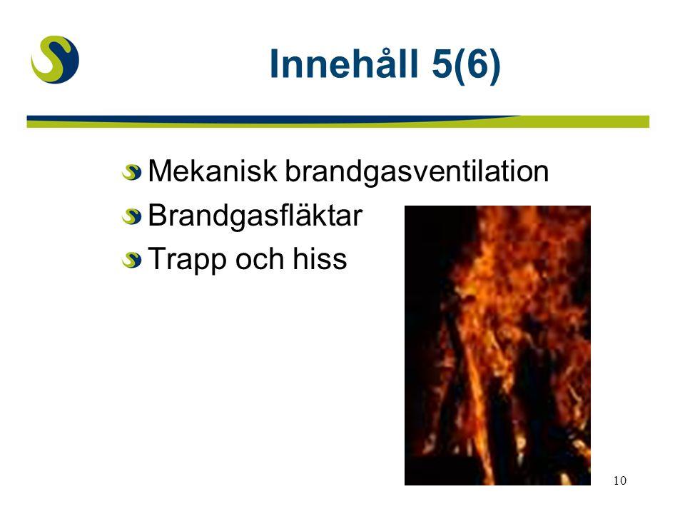 Innehåll 5(6) Mekanisk brandgasventilation Brandgasfläktar