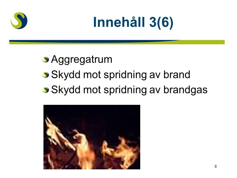 Innehåll 3(6) Aggregatrum Skydd mot spridning av brand