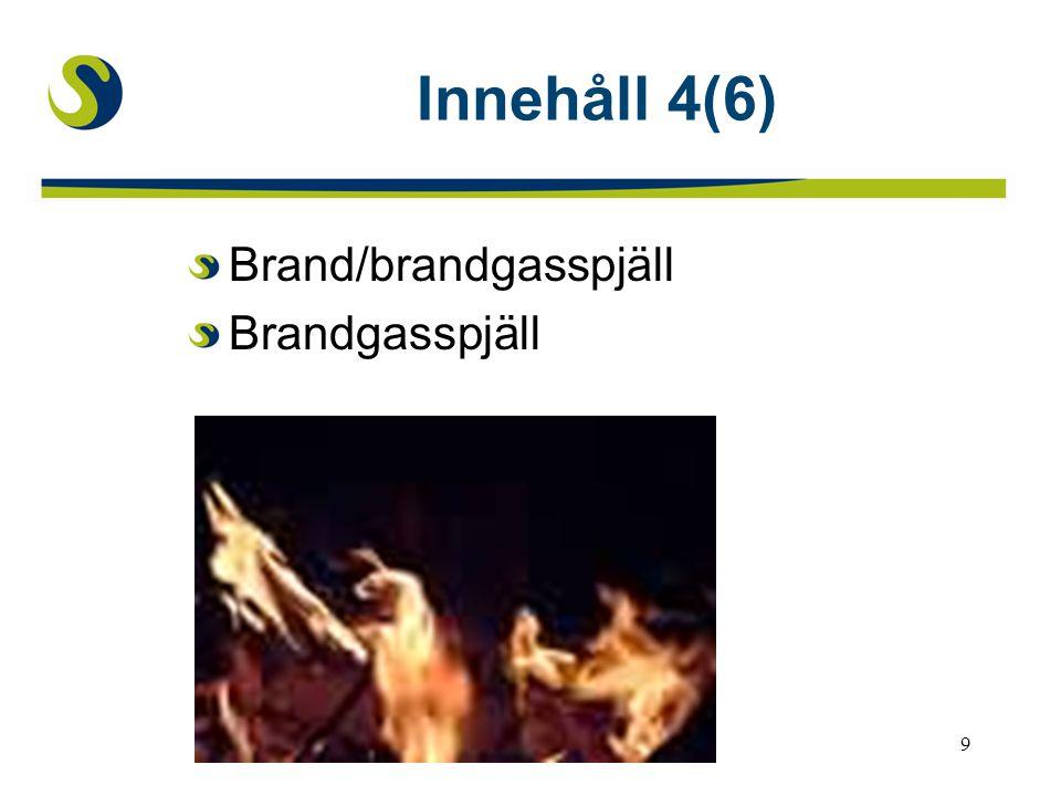 Innehåll 4(6) Brand/brandgasspjäll Brandgasspjäll