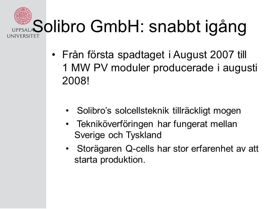 Solibro GmbH: snabbt igång
