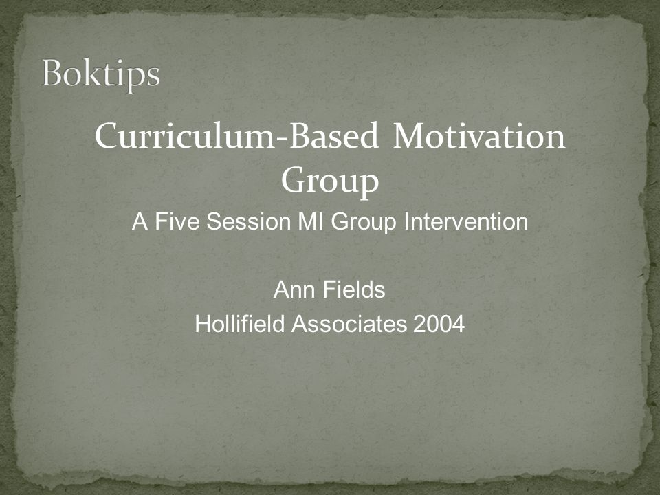 Boktips Curriculum-Based Motivation Group