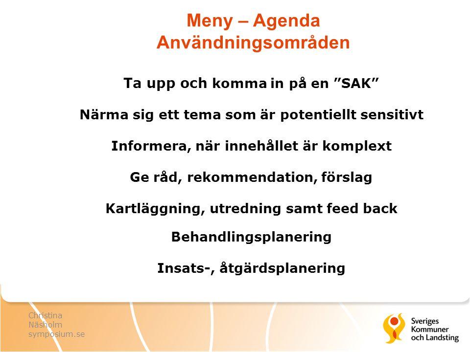 Meny – Agenda Användningsområden