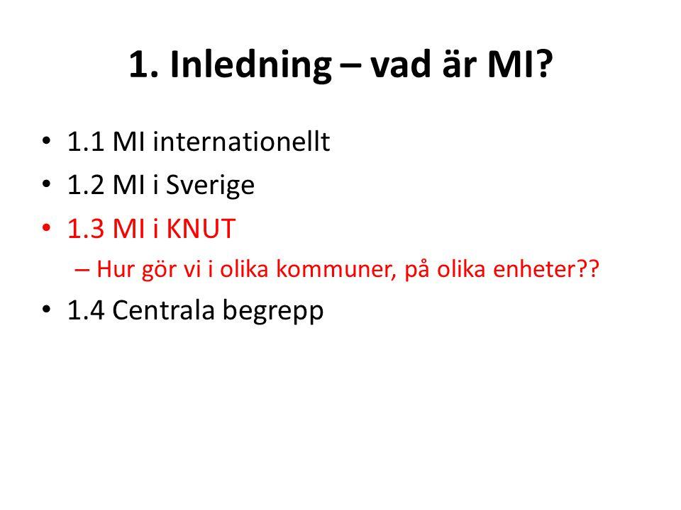 1. Inledning – vad är MI 1.1 MI internationellt 1.2 MI i Sverige