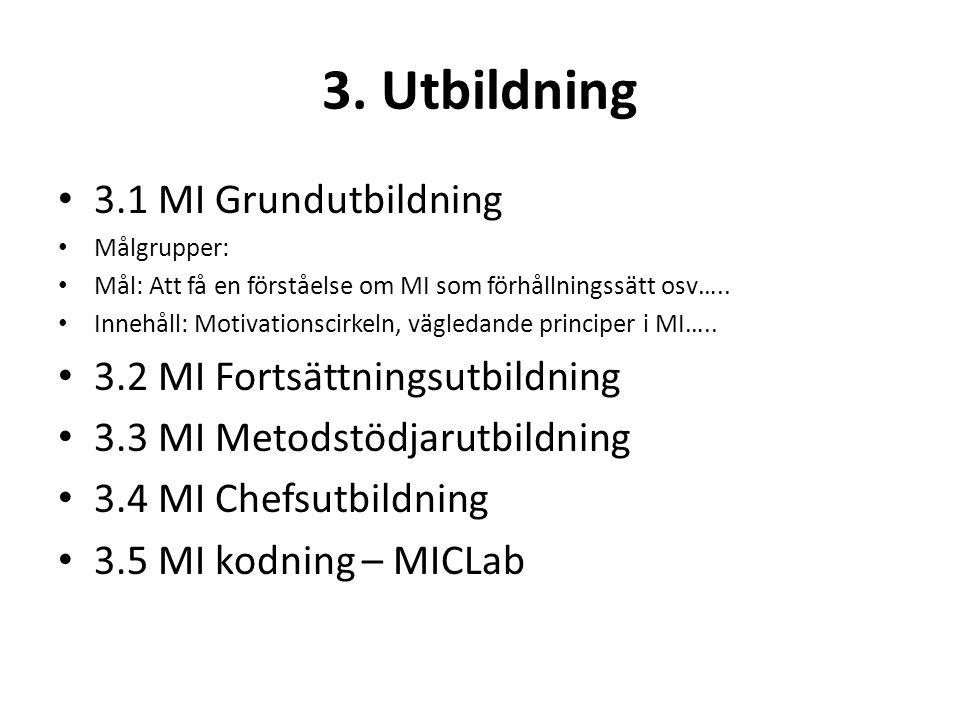3. Utbildning 3.1 MI Grundutbildning 3.2 MI Fortsättningsutbildning