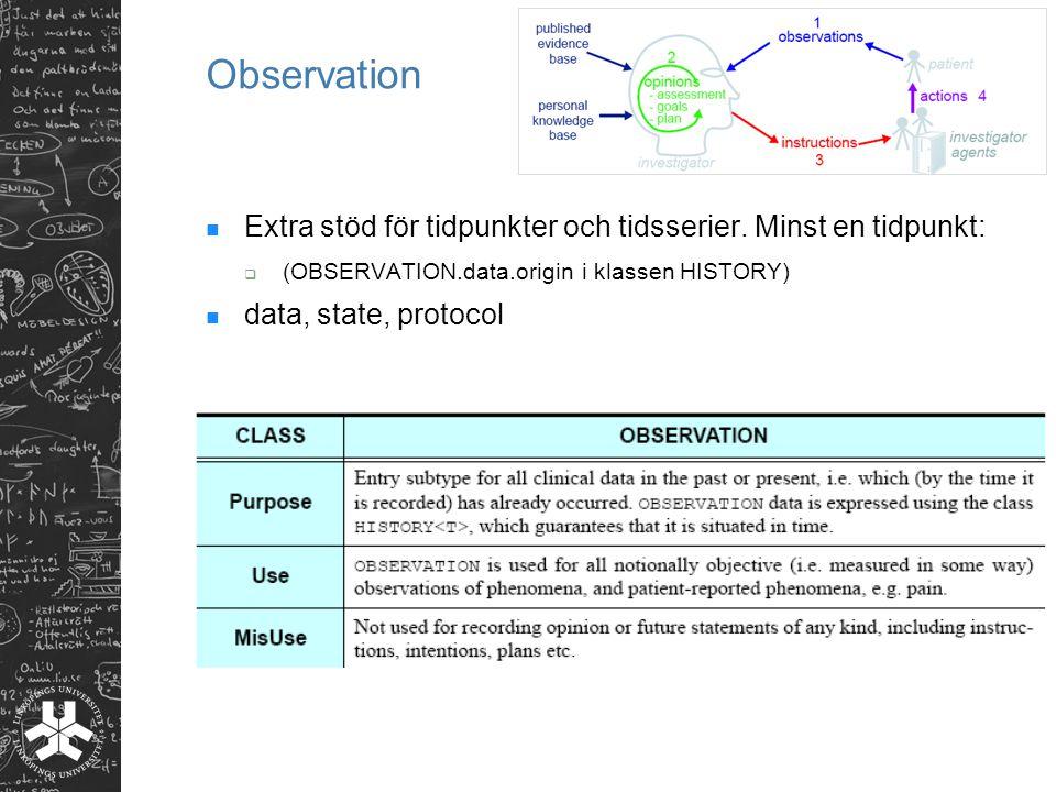 Observation Extra stöd för tidpunkter och tidsserier. Minst en tidpunkt: (OBSERVATION.data.origin i klassen HISTORY)