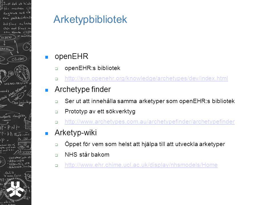Arketypbibliotek openEHR Archetype finder Arketyp-wiki