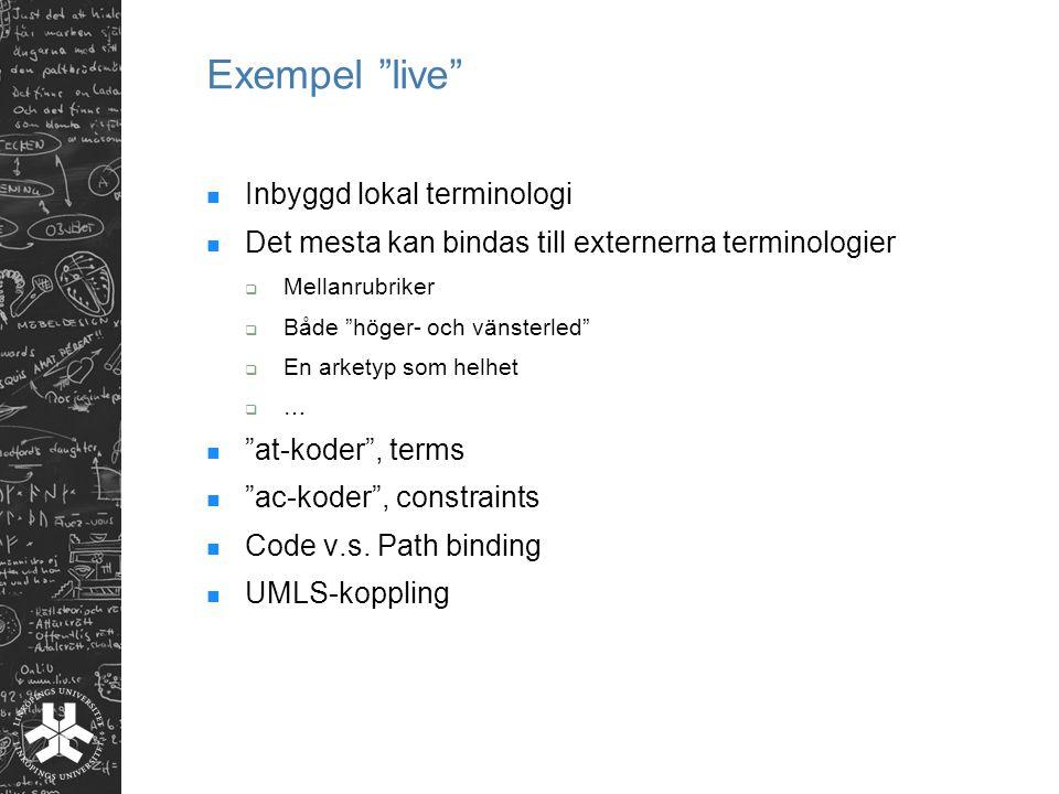 Exempel live Inbyggd lokal terminologi