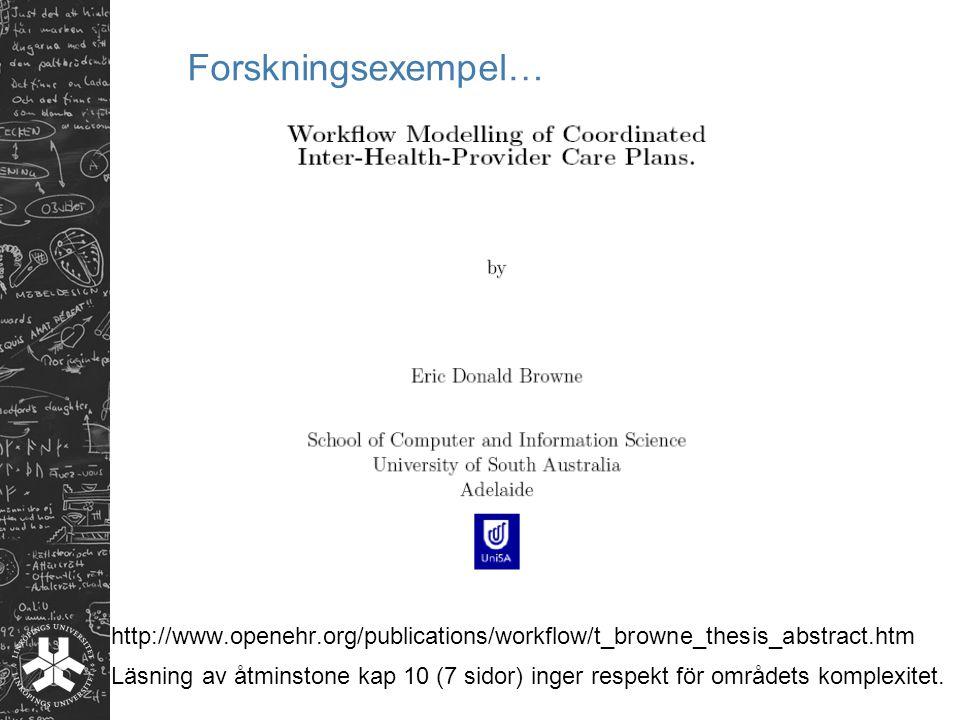 Forskningsexempel… Inte trivialt med formell beskrivning av interagerande samverkande processer.