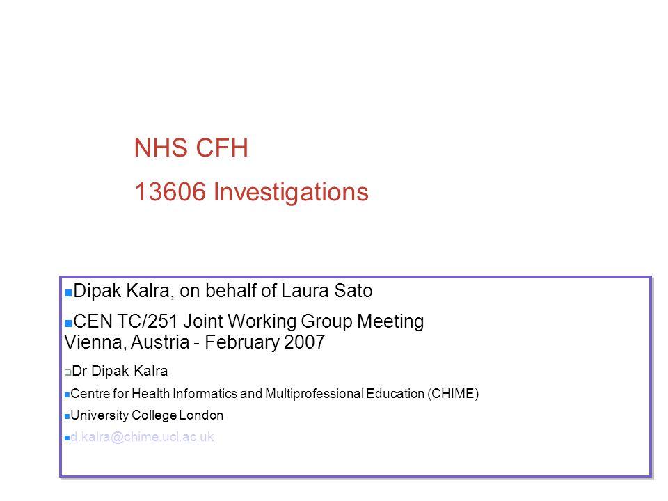 NHS CFH 13606 Investigations