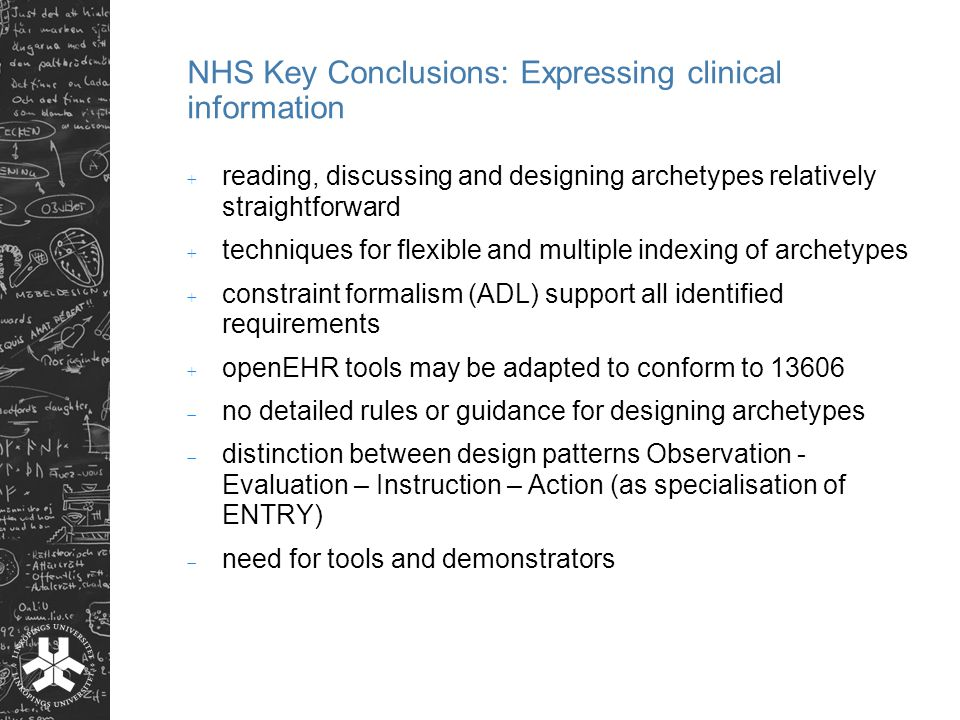NHS Key Conclusions: Expressing clinical information