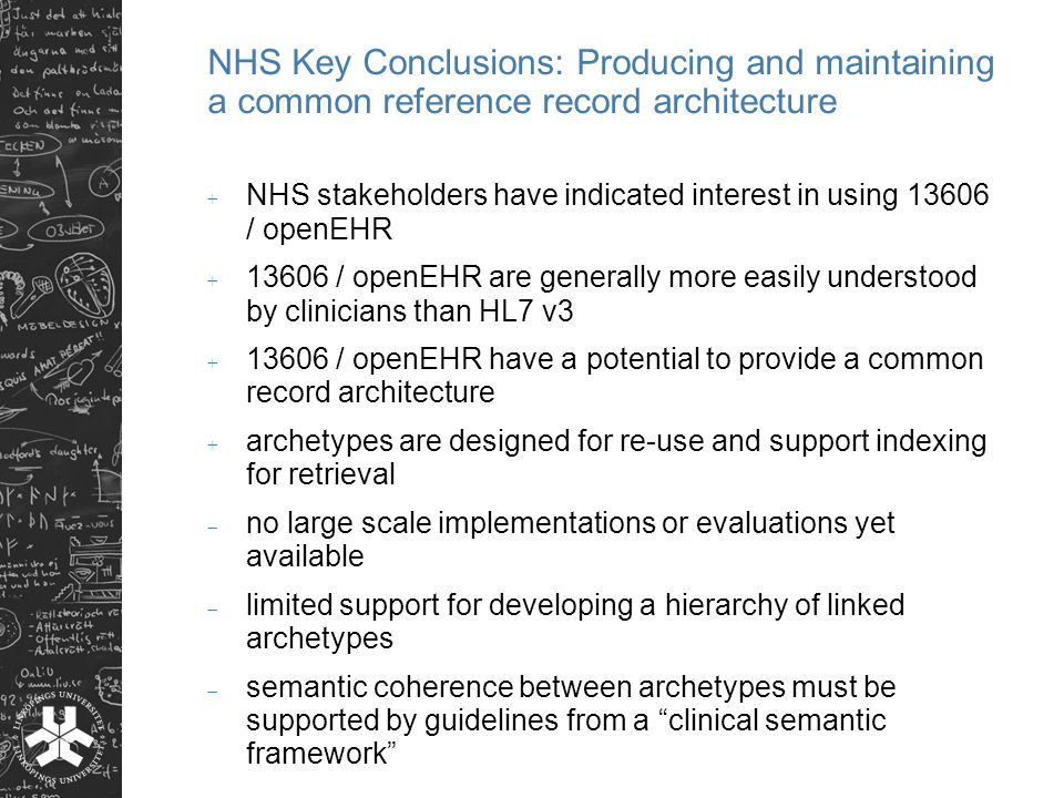 NHS Key Conclusions: Producing and maintaining a common reference record architecture