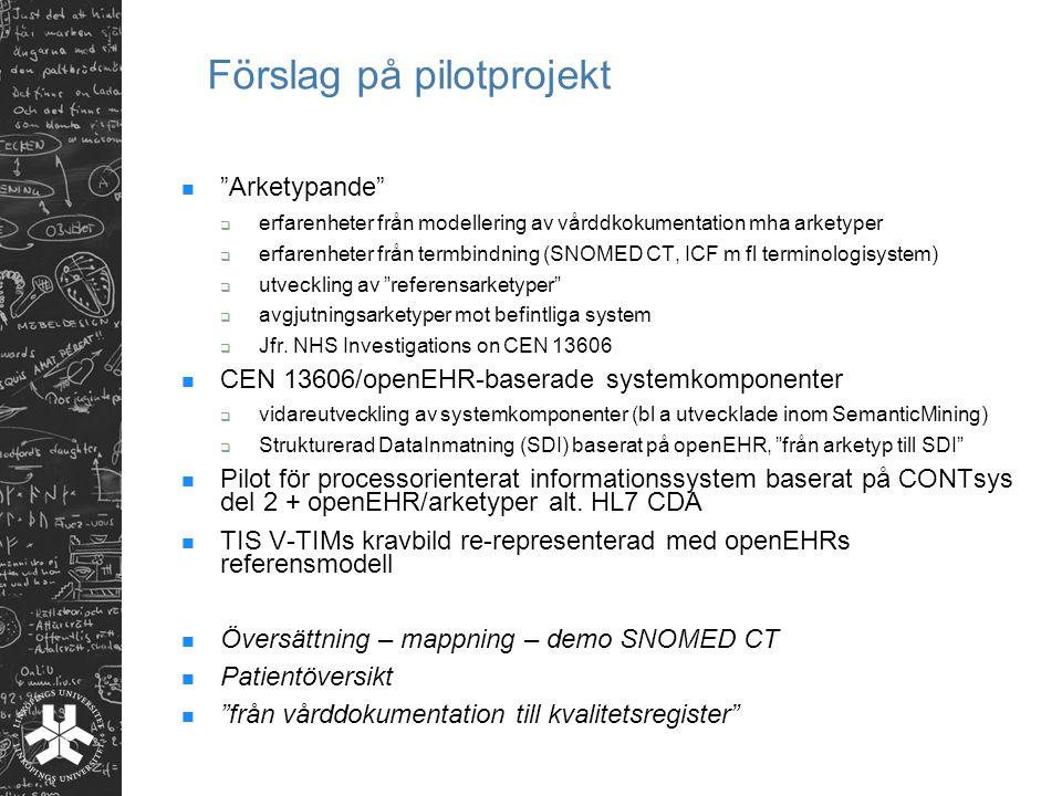 Förslag på pilotprojekt