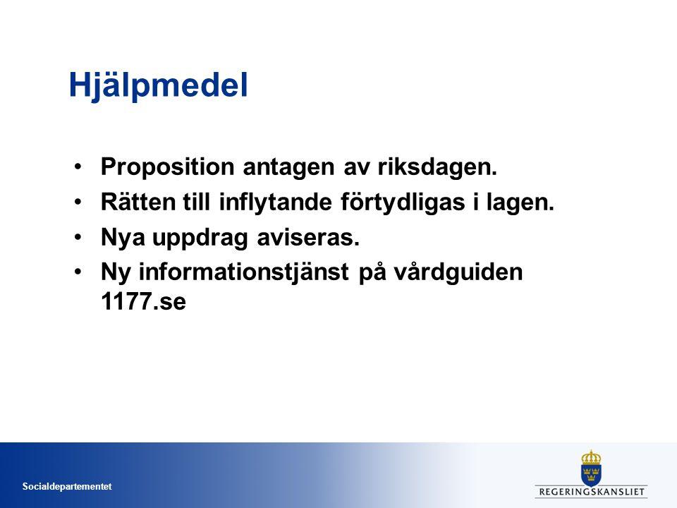 Hjälpmedel Proposition antagen av riksdagen.