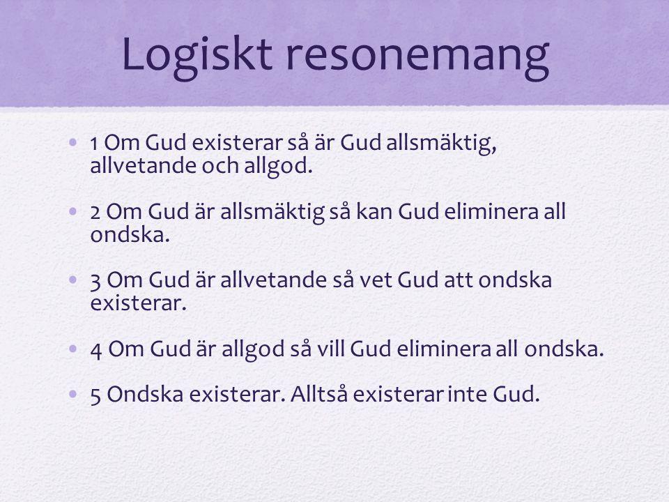 Logiskt resonemang 1 Om Gud existerar så är Gud allsmäktig, allvetande och allgod. 2 Om Gud är allsmäktig så kan Gud eliminera all ondska.