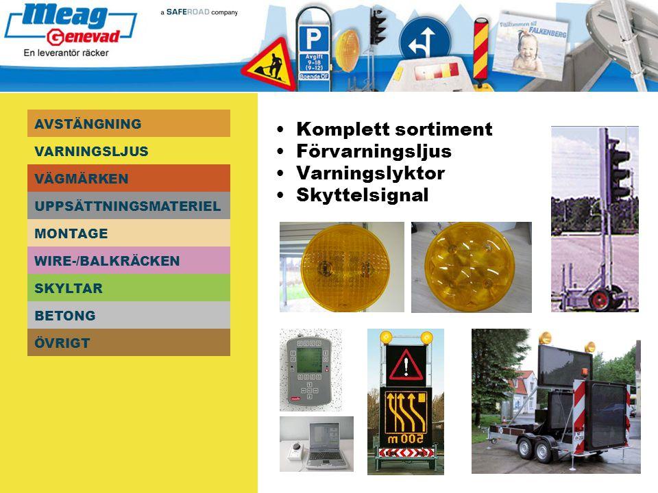 • Komplett sortiment • Förvarningsljus • Varningslyktor